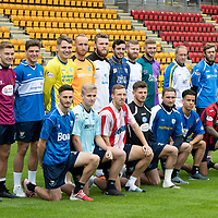 St Johnstone FC Retro shirt day at the home game against Aberdeen on Saturday 15th September 2018, pictured wearing a selection of 'saints' tops from the last three decades are, back row from left, Drey Wright, Callum Hendry, Ross Callachan, Jason Kerr, Mark Hurst, Zander Clark, Joe Shaughnessy, Brian Easton, Liam Gordon, Steven Anderson and Murray Davidson…<br />Front row from left, Scott Tanser Ali McCann, David McMillan, Matty Kennedy, Chris Kane, Tristan Nydam, Richard Foster and Danny Swanson.<br />Picture by Graeme Hart.<br />Copyright Perthshire Picture Agency<br />Tel: 01738 623350  Mobile: 07990 594431