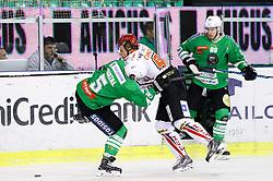 Aljaz Chvatal of Olimpija vs Tadej Cimzar of Jesenice during ice hockey match between HDD Olimpija Ljubljana and HDD SIJ Acroni Jesenice in Final of Slovenian League 2016/17, on April 6, 2017 in Hala Tivoli, Ljubljana, Slovenia. Photo by Matic Klansek Velej/ Sportida