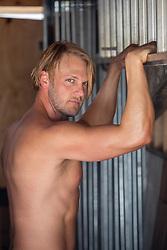 hot shirtless blond man
