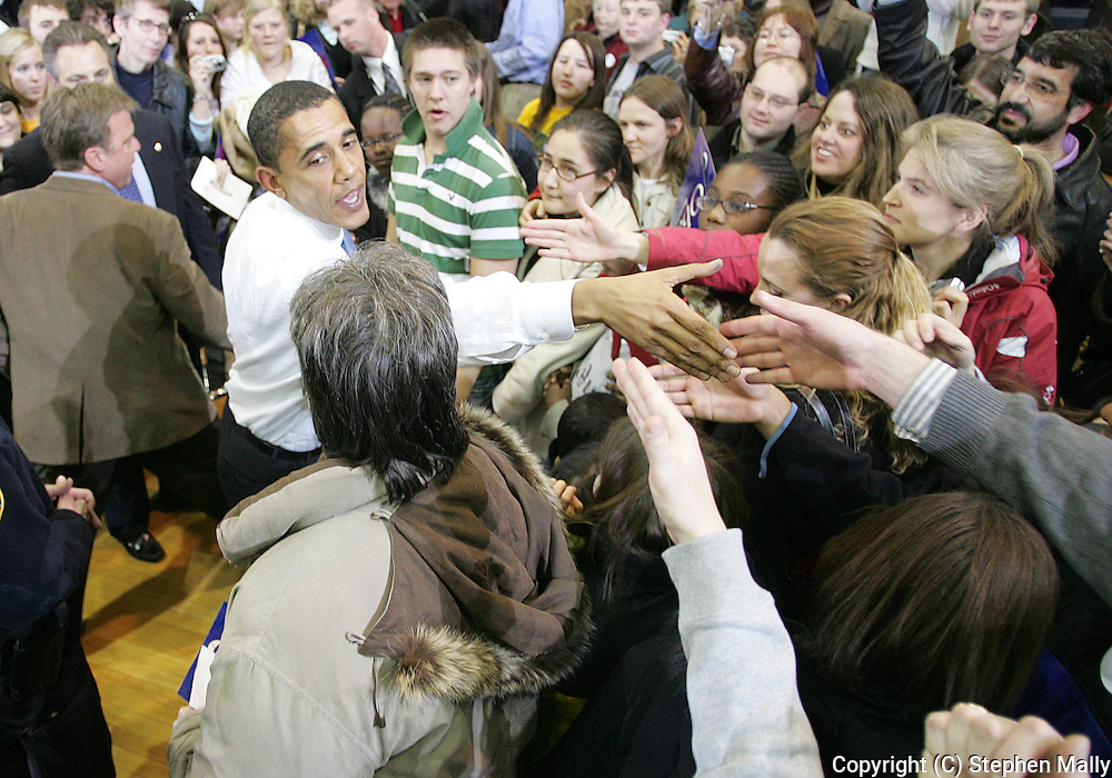 10 February 2007: Democratic presidential hopeful Senator Barack Obama (D-IL) greets supporters after a town hall meeting at Kennedy High School in Cedar Rapids, Iowa on February 10, 2007.
