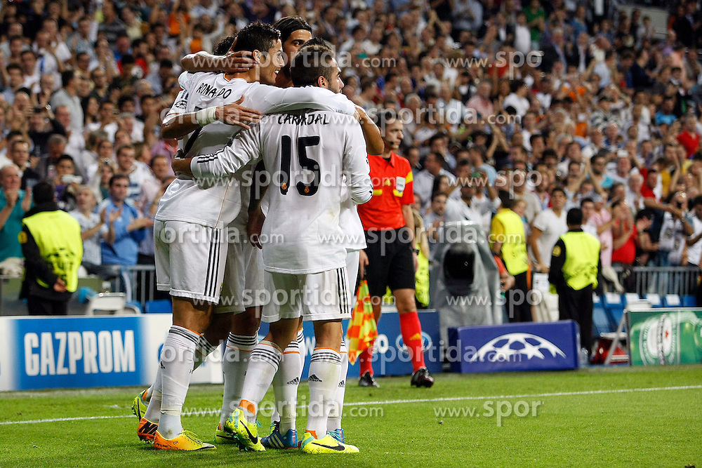 02.10.2013, Estadio Santiago Bernabeu, Madrid, ESP, UEFA Champions League, Real Madrid vs FC Kopenhagen, Gruppe B, im Bild Real Madrid celebrates // after scoring a goal // during the UEFA Champions League Group B match between Real Madrid and FC Kopenhagen at the Estadio Santiago Bernabeu, Madrid, Spain on 2013/10/02. EXPA Pictures &copy; 2013, PhotoCredit: EXPA/ Alterphotos/ Ricky Blanco<br /> <br /> ***** ATTENTION - OUT OF ESP and SUI *****