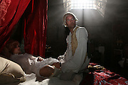 Scene of the Marquis de Sade, 1740-1814, French writer famous for his sexual exploits, on a bed in his cell with a prostitute. Image taken from the filming of 'Paris la ville a remonter le temps' written by Carlo de Boutiny and Alain Zenou, directed by Xavier Lefebvre, a Gedeon Programmes production. Picture by Manuel Cohen