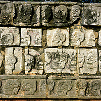 Wall of Skulls along El Tzompantli at Chichen Itza, Mexico<br /> The Mayan civilization – especially at Chichen Itza – practiced human sacrifice as a gift of blood to the deities. There are several carvings depicting this religious practice. For example, a long frieze at the Great Ballcourt depicts beheading and disembowelment presumably of athletics. According to legend, the captain of the winning team was often killed as a reward, resulting in his immediate ascension into heaven. High ranking political and war prisoners were also murdered by various means. The most gruesome evidence is the Wall of Skulls. El Tzompantli was the platform where impaled heads were horizontally displayed.