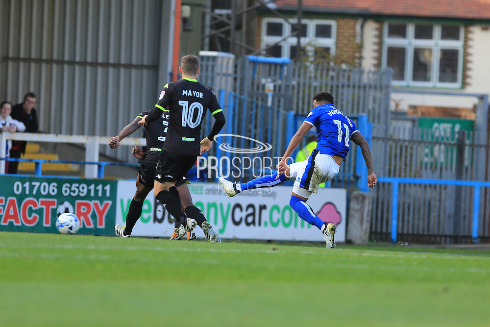GOAL Nathaniel Mendez-Laing scores 2-0 during the EFL Sky Bet League 1 match between Rochdale and Bury at Spotland, Rochdale, England on 15 October 2016. Photo by Daniel Youngs.