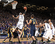 Dec 09, 2007; Manhattan, KS, USA; Kansas State Wildcats forward Bill Walker (12) grabs a offensive rebound over California Bears defenders Nikola Nkezevic (lower left) and Ryan Anderson (34) in the second half at Bramlage Coliseum in Manhattan, KS. Kansas State defeated California 82-75. Mandatory Credit: Peter G. Aiken-US PRESSWIRE