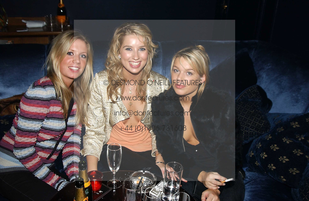 Left to right, MISS LUCINDA COOKE, MISS ALEX FINLAY and MISS WILLA KESWICK at a party hosted by Tatler magazine to celebrate the publication of the 2004 Little Black Book held at Tramp, 38 Jermyn Street, London SW1 on 10th November 2004.<br /><br />NON EXCLUSIVE - WORLD RIGHTS