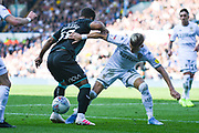 Leeds United defender Ezgjan Alioski (10) and Swansea City midfielder Wayne Routledge (15) during the EFL Sky Bet Championship match between Leeds United and Swansea City at Elland Road, Leeds, England on 31 August 2019.