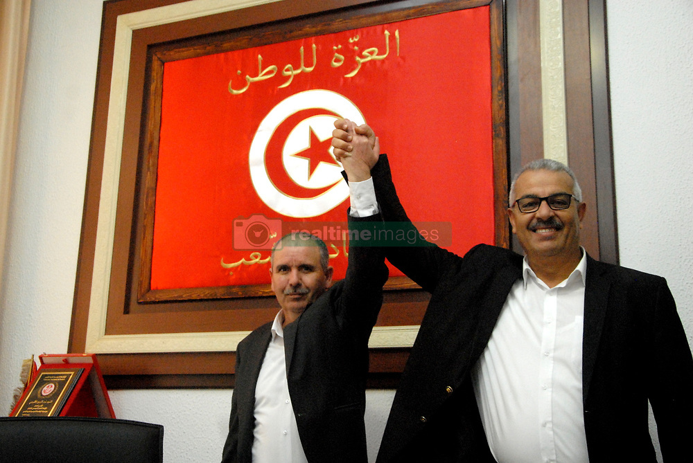 November 17, 2018 - Tunis, Tunisia - Secretary-General Noureddine Taboubi with his deputy Samir Echeffi. The Tunisian General Union of Labor (UGTT) organized a large workers' rally Saturday in Mohamed Ali Square in the capital. Taboubi delivered a speech on the progress of the social negotiations and the general situation in the country. (Credit Image: © Chokri Mahjoub/ZUMA Wire)