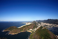 aerial view panorama from the sugar loaf of botafogo copacabana beach in rio de janeiro in brazil