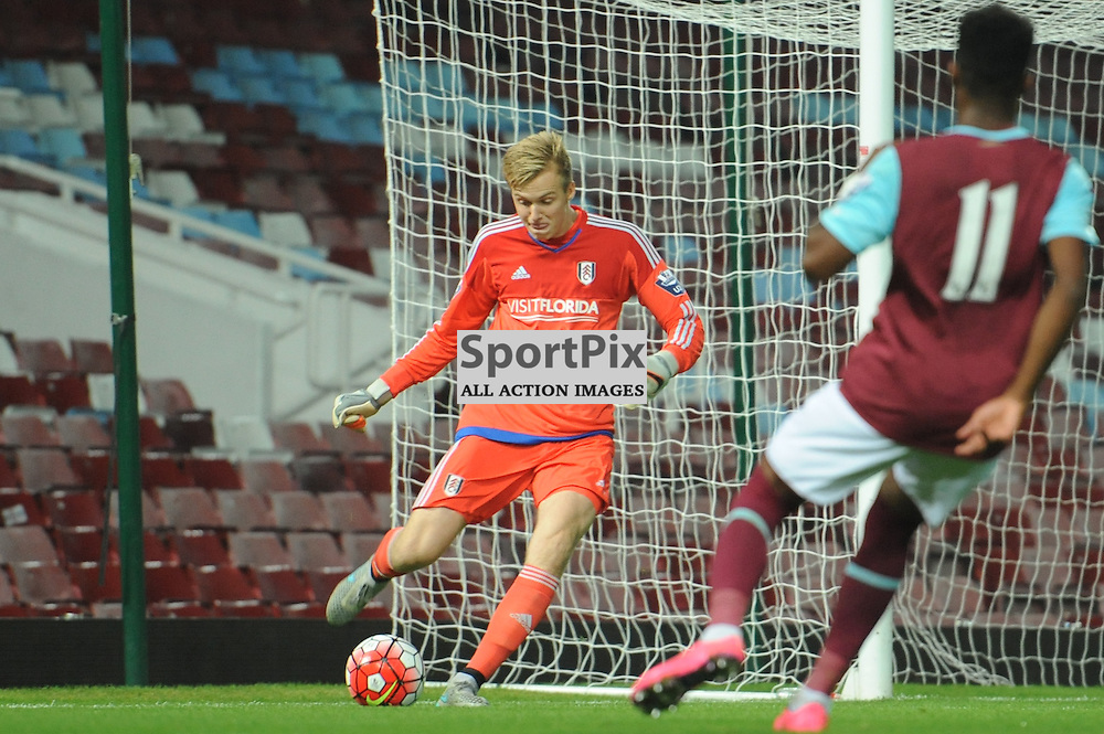 Fulhams Marek Rodak clears under pressure during the West Ham u21 v Fulham u21 match in the Barclays U21 Premier League Division 2 on 26th October 2015.