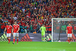 LILLE, FRANCE - Friday, July 1, 2016: Wales' goalkeeper Wayne Hennessey looks dejected as Belgium score the opening goal during the UEFA Euro 2016 Championship Quarter-Final match at the Stade Pierre Mauroy. (Pic by David Rawcliffe/Propaganda)