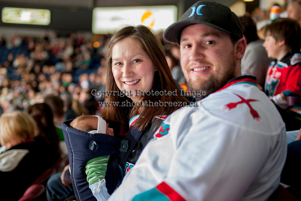 KELOWNA, CANADA - MARCH 18: Six week old Liam attends his first Kelowna Rockets' hockey game on St. Patrick's Day with proud parents on March 1, 2018 at Prospera Place in Kelowna, British Columbia, Canada.  (Photo by Marissa Baecker/Shoot the Breeze)  *** Local Caption ***