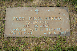 31 August 2017:   Veterans graves in Park Hill Cemetery in eastern McLean County.<br /> <br /> Fred King Herod California Private US Army World War II Brons Star Medal Purple Heart Jan 21 1920 Aug 6 1966