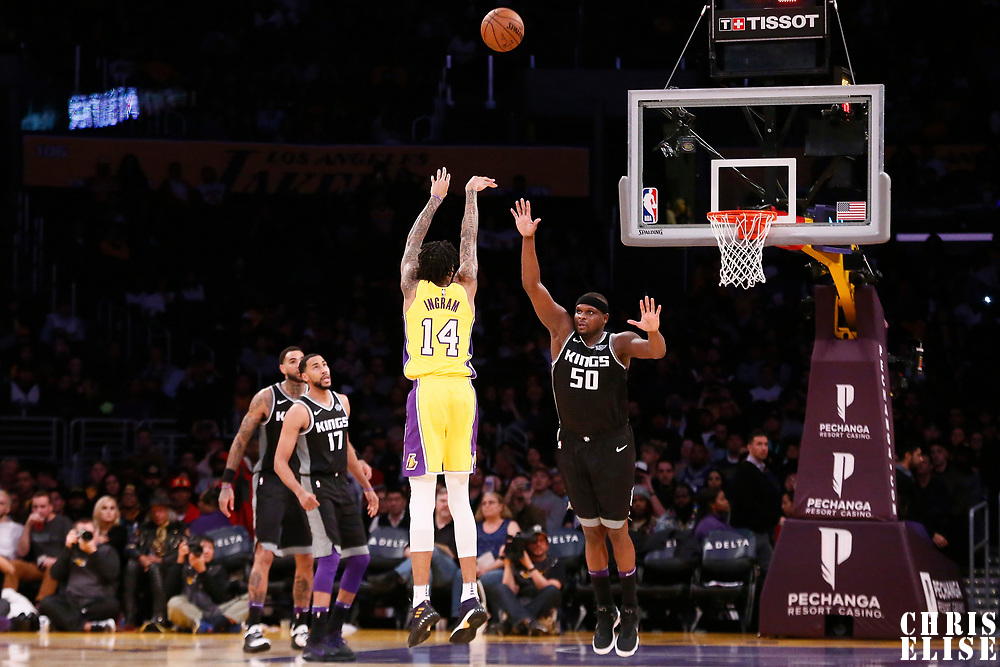 09 January 2018: Los Angeles Lakers forward Brandon Ingram (14) takes a jump shot over Sacramento Kings forward Zach Randolph (50) during the LA Lakers 99-86 victory over the Sacramento Kings, at the Staples Center, Los Angeles, California, USA.