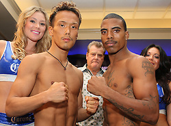 July 8, 2011; Atlantic City, NJ; USA; Akifumi Shimoda (l) and Rico Ramos (r) face off after weighing in for their upcoming bout.