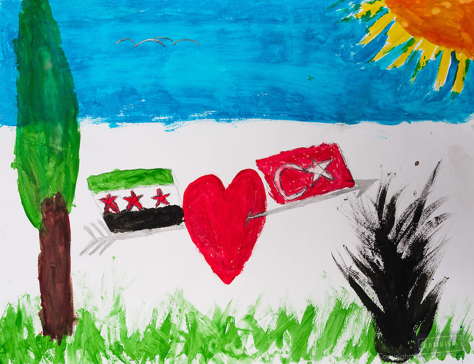 """Turkey is the only nation to help us. We are grateful to them."" Drawing by 10-12 yr old boy, from art session with the neighborhood boys--not from the school. Topic for session: what do you dream about or hope for?"