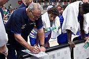 Meo Sacchetti ,  time out<br /> Nazionale Italiana Maschile Senior - Trentino Basket Cup 2019<br /> Italia Italy Romania Romania<br /> FIP 2019<br /> Trento, 30/07/2019<br /> Foto GiulioCiamillo / Ciamillo