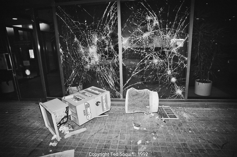 Damage to the windows of a Security Pacific Bank in downtown LA.