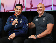 Roger Tuivasa-Sheck and Awen Guttenbeil. Vodafone New Zealand announce the renewing of sponsorship for the Vodafone Warriors at InnoV8 Auckland Vodafone HQ, North Shore, Auckland. Thursday 24 May 2018. © Copyright Image: Andrew Cornaga / www.photosport.nz