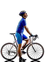 cyclist tired looking up in silhouette on white background