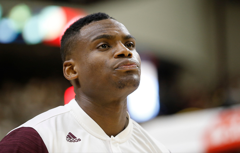 Jan 30, 2016; College Station, TX, USA;  Texas A&M Aggies guard Jalen Jones (12) listens to the National Anthem before playing against the Iowa State Cyclones at Reed Arena. A&M won 72 to 62. Mandatory Credit: Thomas B. Shea-USA TODAY Sports