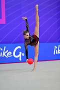 Hudis Veronika during the qualification of the ball at the Pesaro World Cup 2018.<br /> She is an Azerbaijani gymnast from the Ukraine origin born in 2002.