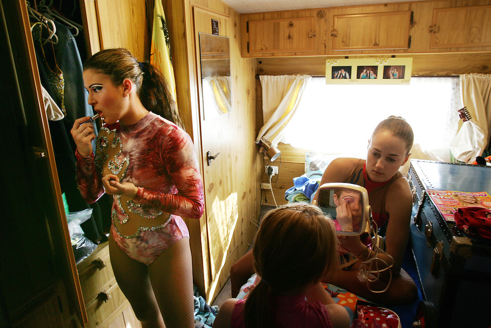Monique, Raine and Stephanie getting ready for a performance at The Lennon Brothers Circus, Sydney.  2006.