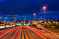 Chicago Skyline & Dan Ryan Expressway (Blue Hour)