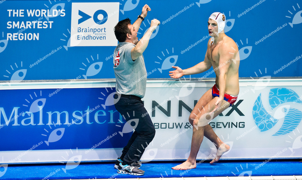 Eindhoven , Netherlands (NED) 16 - 29 January 2012.LEN European  Water Polo Championships 2012.Day 14 - Men.SRB (White) - MNE (Blue)..SRB.8 ALEKSIC Milan.UDOVICIC Dejan..Photo G.Scala/Deepbluemedia.eu