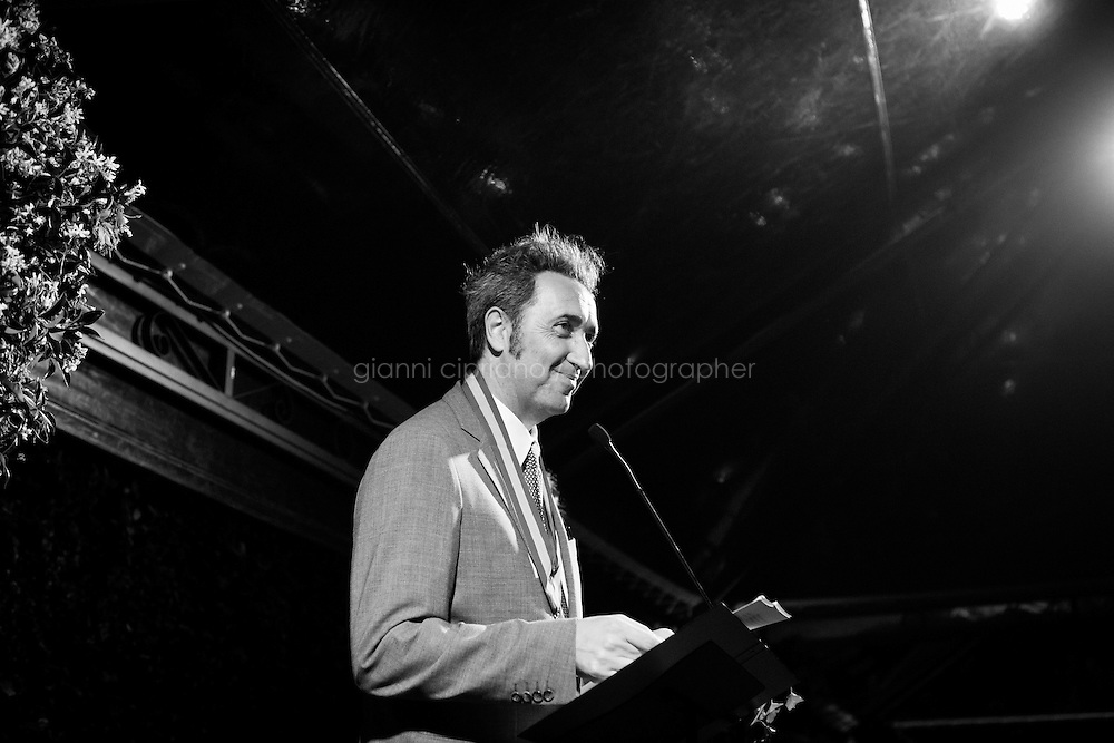 ROME, ITALY - 3 JUNE 2015: Film director Paolo Sorrentino gives a speech after receiving the McKim Medal Award at the Gala honouring him and Carlo Petrini at the American Academy  in Rome, Italy, on June 3rd 2015.