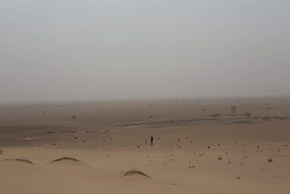 Western Sahara 2015-01-13 <br />  A Polisario soldier standing in the desert 100 kilometres south west of Mijek, a town in the liberated territory of Western Sahara, controlled by the Polisario Front.
