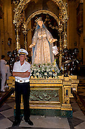 """Roma 18 luglio 2015<br /> Venerabile Arciconfraternita del SS.mo Sacramento e di Maria Ss. del Carmine in Trastevere a Roma fondata nell' anno 1539. I Solenni Festeggiamenti e la processione in onore della.Madonna del Carmine detta """"de' Noantri"""".<br /> Rome, Italy. 18th July 2015<br /> The Solemn celebrations and processions in honor of Madonna del Carmine, Our Lady of Roman Citizens, took place in Rome. The bearers of the statue were the Venerable Confraternity of the Blessed Sacrament and Maria del Carmine in Trastevere."""