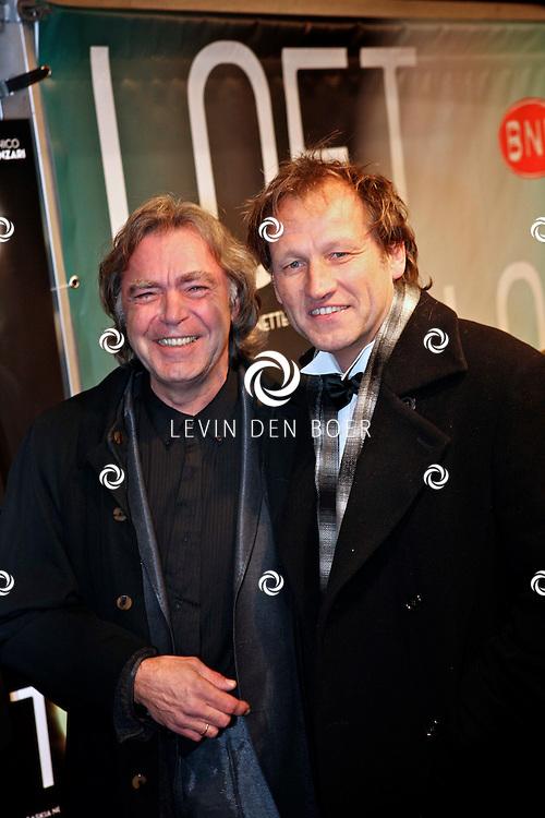 AMSTERDAM - Govert de Roos en Steven de Jong op de premiere van de film Loft dinsdag in Amsterdam. De film is vanaf 16 december in de Nederlandse bioscopen te zien. FOTO LEVIN DEN BOER - PERSFOTO.NU