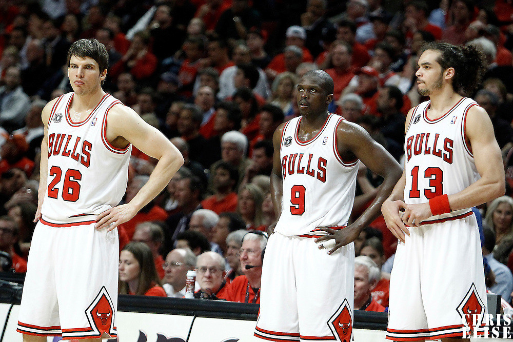 18 May 2011: Chicago Bulls shooting guard Kyle Korver (26), Chicago Bulls small forward Luol Deng (9) and Chicago Bulls center Joakim Noah (13) are seen during the Miami Heat 85-75 victory over the Chicago Bulls, during game 2 of the Eastern Conference finals at the United Center, Chicago, Illinois, USA.