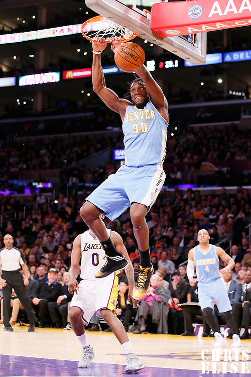 05 January 2014: Denver Nuggets power forward Kenneth Faried (35) dunks the ball during the Denver Nuggets 137-115 victory over the Los Angeles Lakers at the Staples Center, Los Angeles, California, USA.