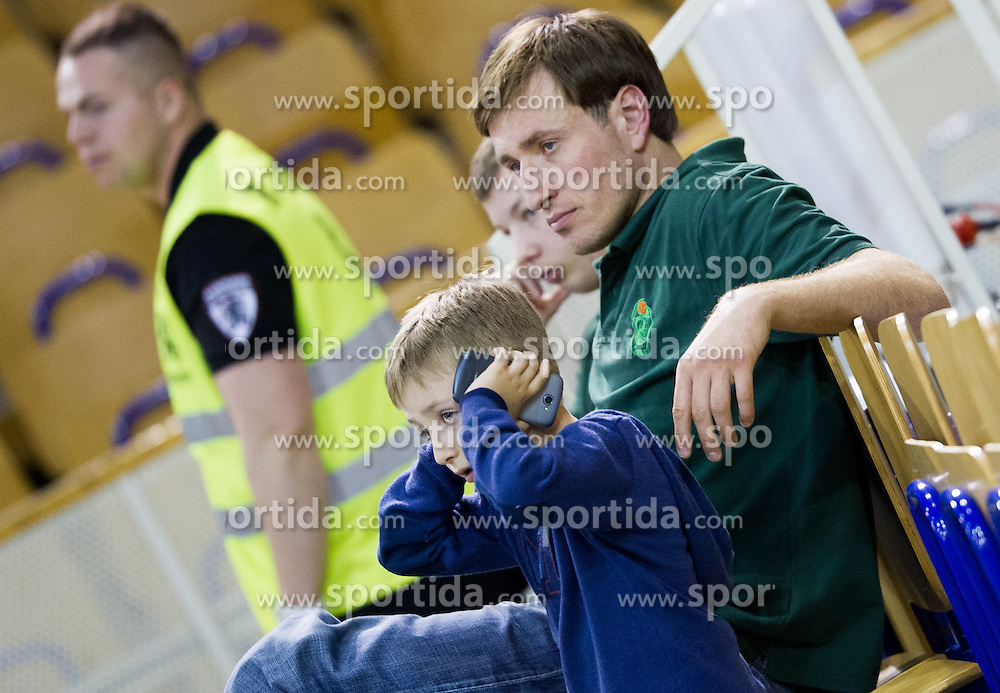 Matjaz Smodis of Krka with his child during basketball match between KK Union Olimpija and KK Krka in 10th Round of Telemach League 2012/2013, on April 30, 2013, in Hala Tivoli, Ljubljana, Slovenia. (Photo By Vid Ponikvar / Sportida.com)