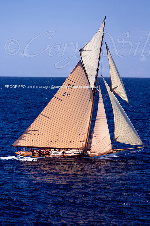 Tuiga sailing in the Antigua Classic Yacht Regatta, Butterfly Race.