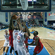Delaware 87ers Forward Rahlir Hollis-Jefferson (15) and Delaware 87ers Forward Ronald Roberts (12) battle for the rebound in the first half of a NBA D-league regular season basketball game between the Delaware 87ers and the Grand Rapids Drive (Detroit Pistons) Friday, Jan. 09, 2015 at The Bob Carpenter Sports Convocation Center in Newark, DEL