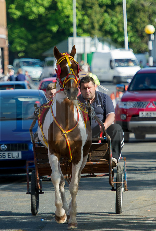 (c) Licenced to London News Pictures 04/06/2015. Appleby, Cumbria, UK. Annual meeting fair for Travellers and Gypsies at Appleby in Cumbria. Travellers and Gypsies head into the village to meet and bath the horses in the River Eden. There is a heavy Police and RSPCA Officer presence in the village to keep the peace. Most travellers visit the local pub The Grapes Inn for a drink by the river. Much of the village traffic is held up by horse and carts. Photo credit : Harry Atkinson/LNP