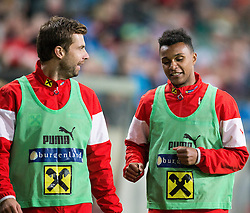 30.05.2014, Tivoli Stadion, Innsbruck, AUT, Fussball Testspiel, Oesterreich vs Island, im Bild (v.l.) Andreas Ivanschitz (AUT), Valentino Lazaro (AUT) // Austrian's Andreas Ivanschitz (L) and Austrian's Valentino Lazaro (R) warming up during the International Friendly between Austria and Iceland at the Tivoli Stadion in Innsbruck, Austria on 2014/05/30. EXPA Pictures © 2014, PhotoCredit: EXPA/ Johann Groder