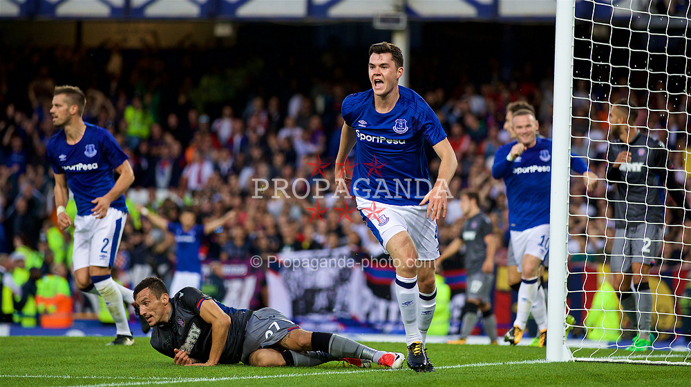 LIVERPOOL, ENGLAND - Thursday, August 17, 2017: Everton's Michael Keane celebrates scoring the first goal during the UEFA Europa League Play-Off 1st Leg match against HNK Hajduk Split at Goodison Park. (Pic by David Rawcliffe/Propaganda)