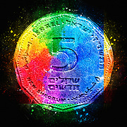 Digitally enhanced image of a Five New Israeli Shekel coin (ILS or NIS)