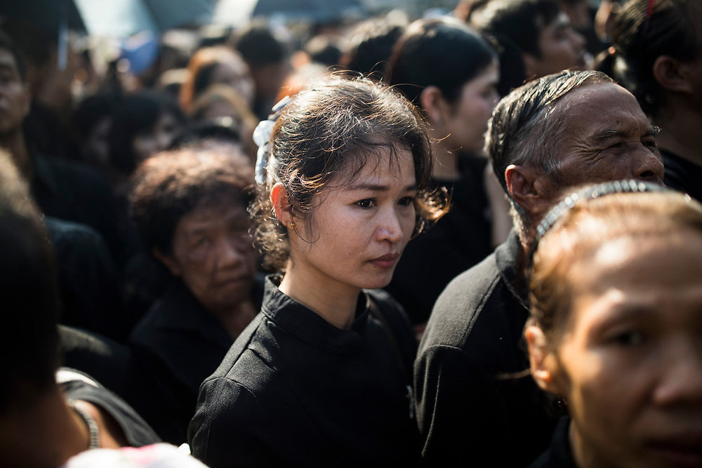 Hundreds of thousands of people attend the funeral of the late Thai King Bhumibol Adulyadej on October 26, 2017 in Bangkok, Thailand. Hundreds of thousands of people, dressed in black, have gathered in Bangkok over a year after the death of Thailand's popular King Bhumibol Adulyadej.  The five-day royal cremation ceremony is taking place between October 25-29 in Bangkok's historic Grand Palace and the Sanam Luang area.