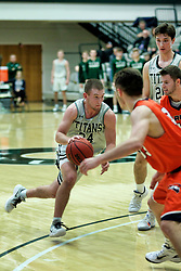 BLOOMINGTON, IL - December 15: Grant Wolfe during a college basketball game between the IWU Titans  and the Carroll Pioneers on December 15 2018 at Shirk Center in Bloomington, IL. (Photo by Alan Look)