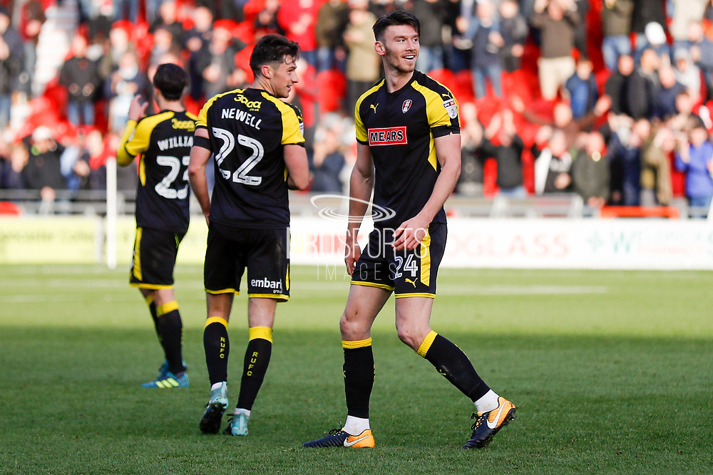 Rotherham United forward Kieffer Moore (24), on loan from Ipswich Town, celebrating after the final whistle as his last minute goal made the score 1-1 during the EFL Sky Bet League 1 match between Doncaster Rovers and Rotherham United at the Keepmoat Stadium, Doncaster, England on 11 November 2017. Photo by Simon Davies.