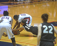 "Mississippi's Nikki Byrd (22) loses control of the ball as Vanderbilt's Christiana Foggie (10) defends at the C.M. ""Tad"" Smith Coliseum in Oxford, Miss. on Sunday, January 2, 2011. (AP Photo/Oxford Eagle, Bruce Newman)"