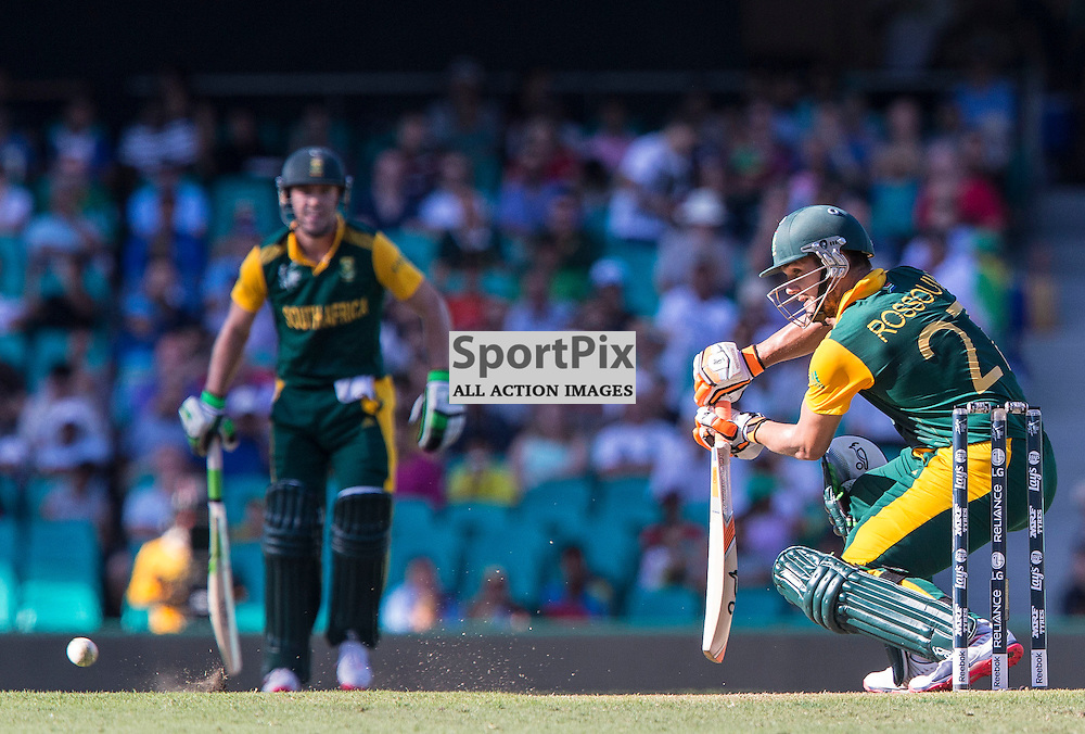 ICC Cricket World Cup 2015 Tournament Match, South Africa v West Indies, Sydney Cricket Ground; 27th February 2015<br /> South Africa&rsquo;s Rilee Rossouw plays a delicate cut shot