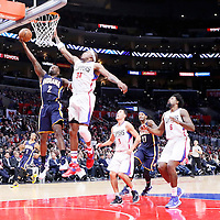 02 December 2015: Indiana Pacers guard Rodney Stuckey (2) goes for the layup past Los Angeles Clippers forward Paul Pierce (34), Los Angeles Clippers guard Pablo Prigioni (9) and Los Angeles Clippers center DeAndre Jordan (6) during the Indiana Pacers 103-91 victory over the Los Angeles Clippers, at the Staples Center, Los Angeles, California, USA.