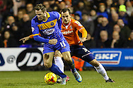Luke Wilkinson of Luton Town (right) and Liam Lawrence of Shrewsbury Town (left) during the Sky Bet League 2 match at Kenilworth Road, Luton<br /> Picture by David Horn/Focus Images Ltd +44 7545 970036<br /> 08/01/2015