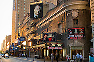 NYC, New York, U.S.  21st May 2013. The Broadhurst Theater, which features the Broadway play 'Lucky Guy' starring Tom Hanks, is lit by golden dusk light, during a pleasant spring day, with a high of 86ºF/32ºC in Manhattan.